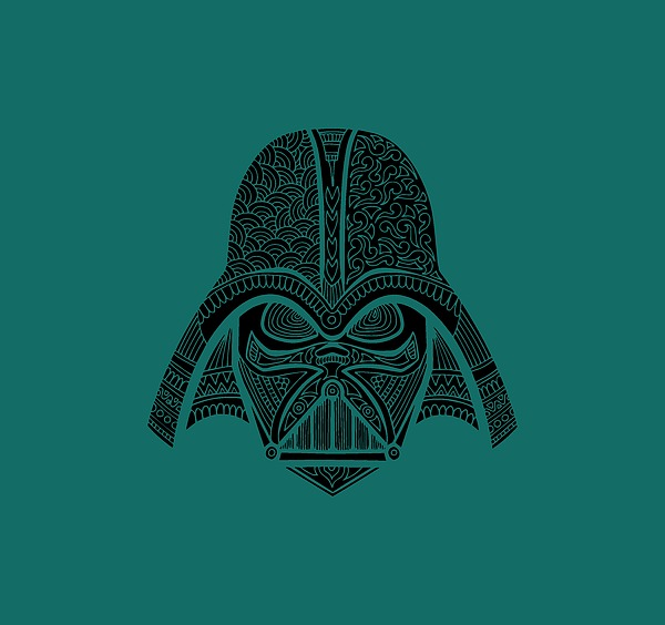 Darth Vader - Star Wars Art - Blue Black Mixed Media