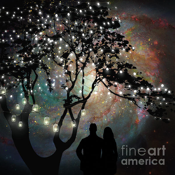 Tina Lavoie - Date Night, trees, stars, string of lights, galaxy, dating couple