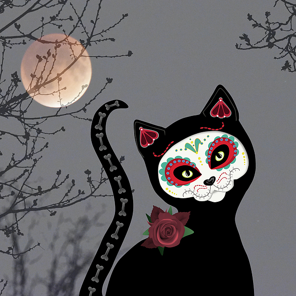 Day Of The Dead Cat Photograph