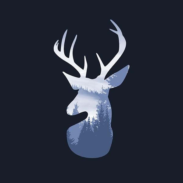 Deer Abstract Blue Landscape Design Digital Art