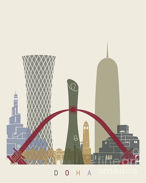 Doha Skyline Poster Iphone X Case