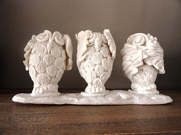 Dough Sculpture Art Owls Hear No Evil See No Evil