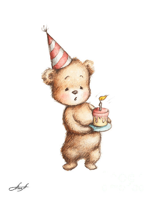 Remarkable Drawing Of Teddy Bear With Birthday Cake Greeting Card For Sale By Personalised Birthday Cards Bromeletsinfo