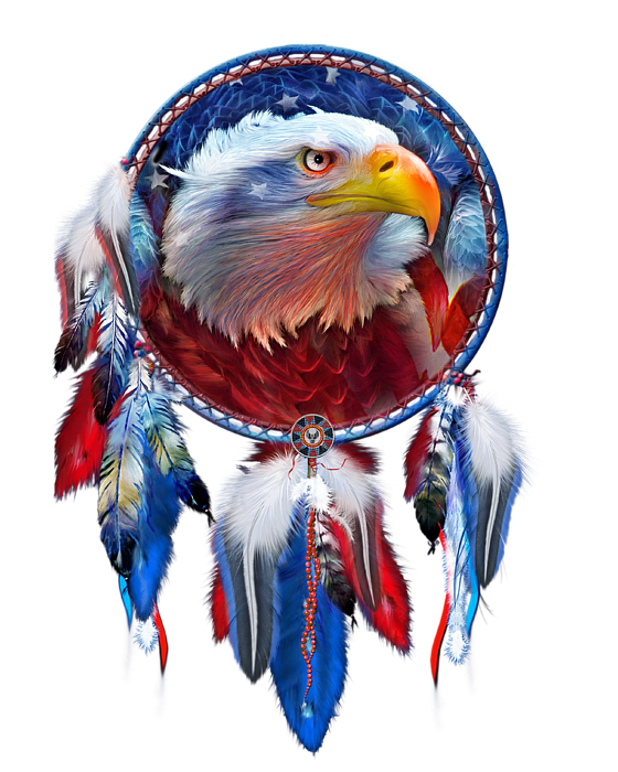 Dream Catcher Eagle Red White Blue T Shirt For Sale By Carol Cavalaris