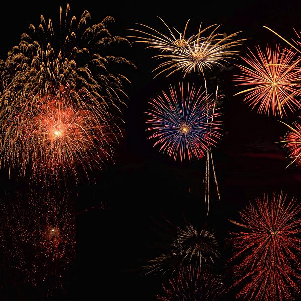 Lena  Owens OLena Art - Fireworks Reflection In Wate - 1