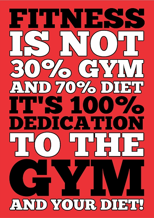 Fitness Is Not Half Gym And Full Diet Gym Motivational Quotes Poster  Greeting Card