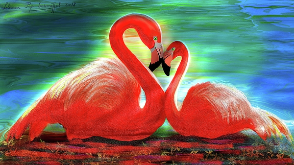 Liliana Pop Schroffel - Flamingos in Love