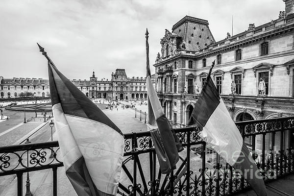 Liesl Walsh - French Flags At Louvre, Paris, Black and White