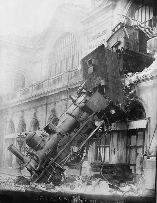 Vintage Old Transport Poster Train Wreck At Montparnasse 1895 A4 A3 A2 A1