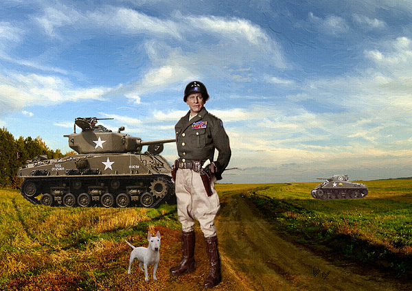 William Mace - General patton and his dog oil painting