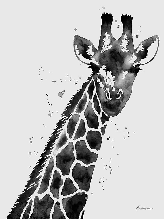 Giraffe In Black And White Painting