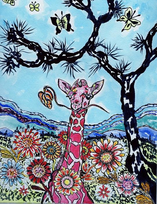 Connie Valasco - Giraffe In Garden
