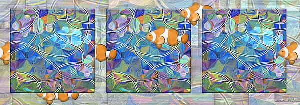 Rosy Hall - Gone Fishin triptych horizontal