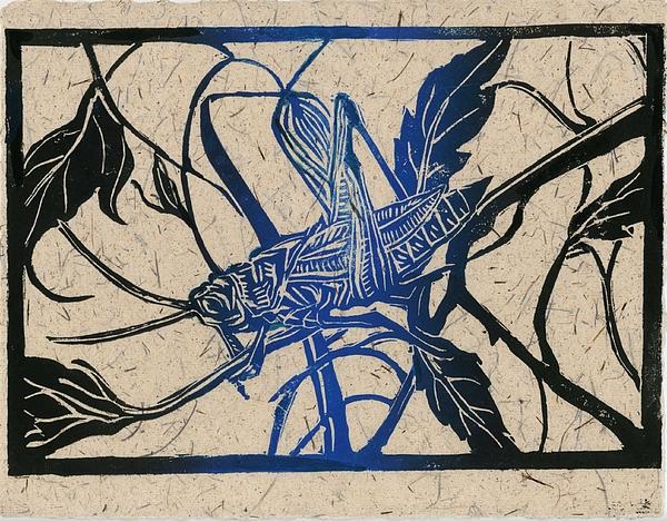 Alfred Ng - Grasshopper Lino Cut Print
