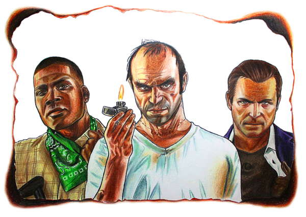 Gta 5 Characters Drawing Duvet Cover For Sale By Nikolai