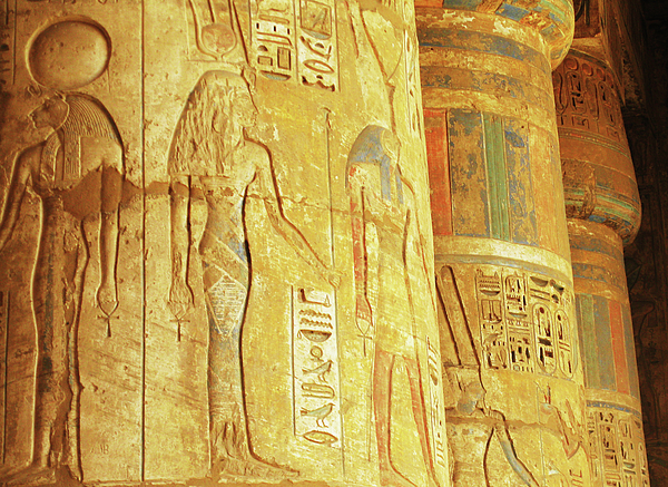 Ayman Alenany - Hieroglyphics, carvings and drawings on the walls and column of Temple of Habu at Luxor, Egypt, 2