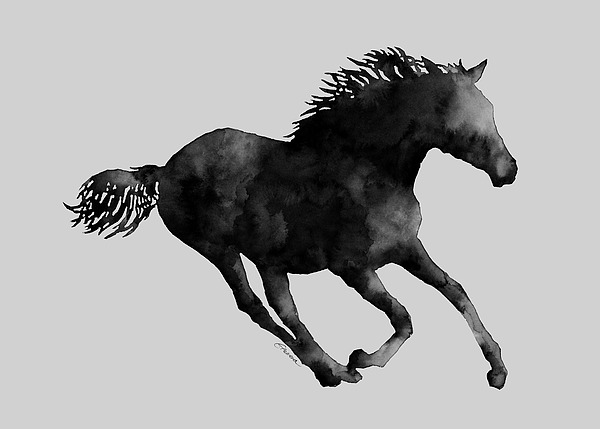 Horse Running In Black And White Painting