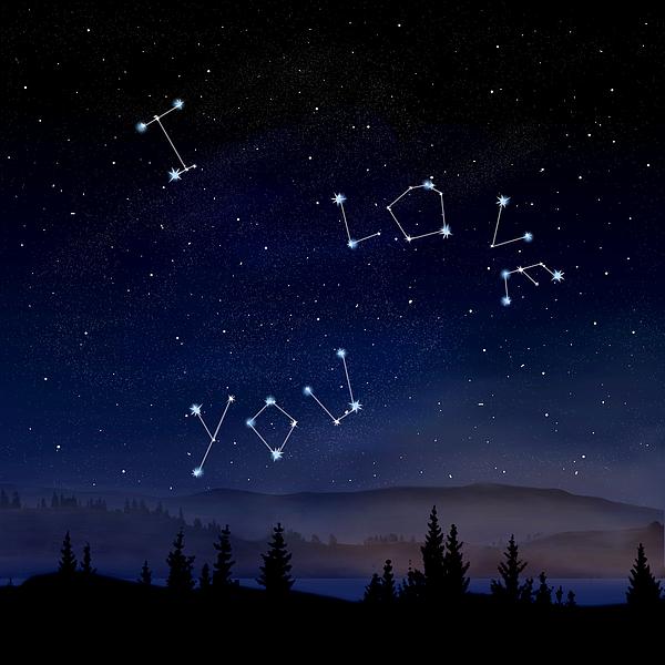 I Love You Stars Design Digital Art