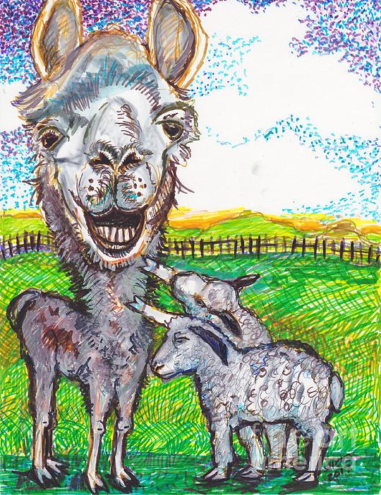 Susan Brown    Slizys art signature name - Immigration of Llamas -Sheep protesting