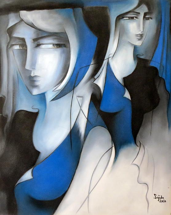 Sajida Hussain - Blue Creative Portrait Painting