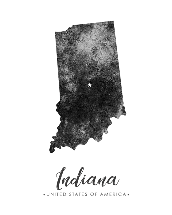 Indiana State Map Art - Grunge Silhouette Kids T-Shirt on stereotypes of states in america, on a map of stereotypes america, stereotypical america,