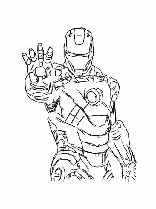 Iron man black outline digital part 3 Greeting Card for ...