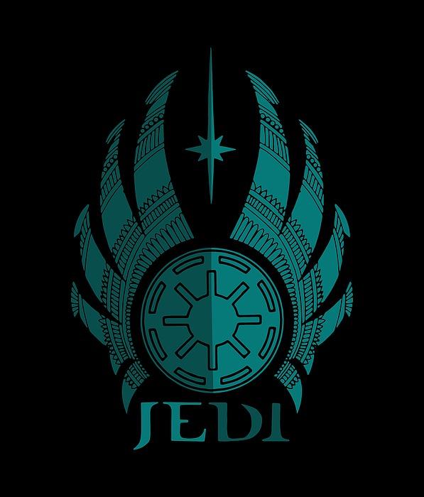 Jedi Symbol - Star Wars Art, Blue Mixed Media