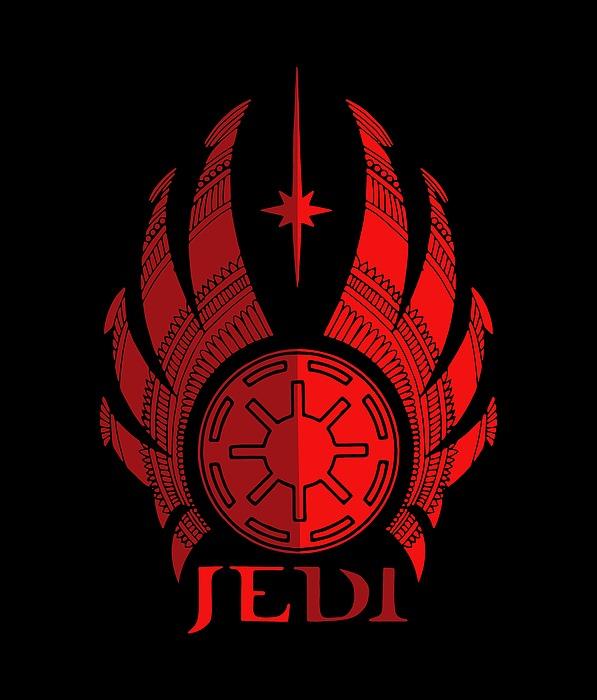 Jedi Symbol - Star Wars Art, Red Mixed Media