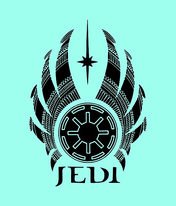 Jedi Symbol - Star Wars Art, Teal Mixed Media