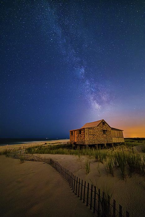 Susan Candelario - Jersey Shore Setting Moon  and Milky Way