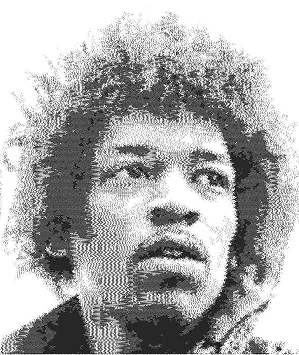 Jimi Hendrix - Cross Hatching Drawing