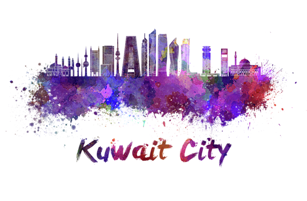 Kuwait City V2 Skyline In Watercolor Greeting Card