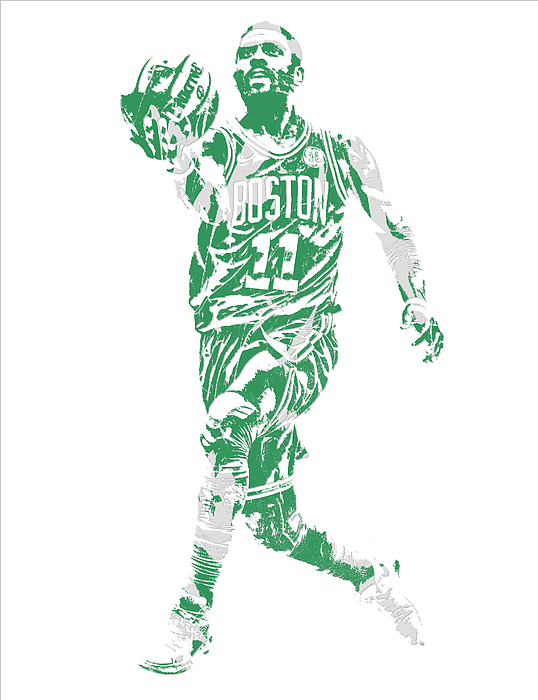 Kyrie Irving Boston Celtics Pixel Art 43 Throw Pillow