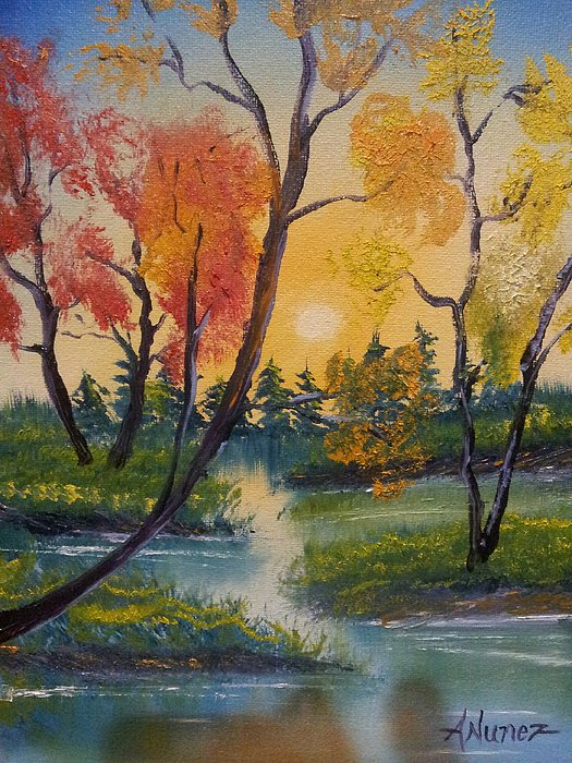 Anthony Nunez - Joyful Afternoon by a river with happy colorful trees