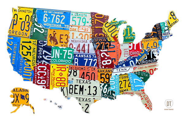 License Plate Map Of The United States TShirt For Sale By Design - Us map with license plates