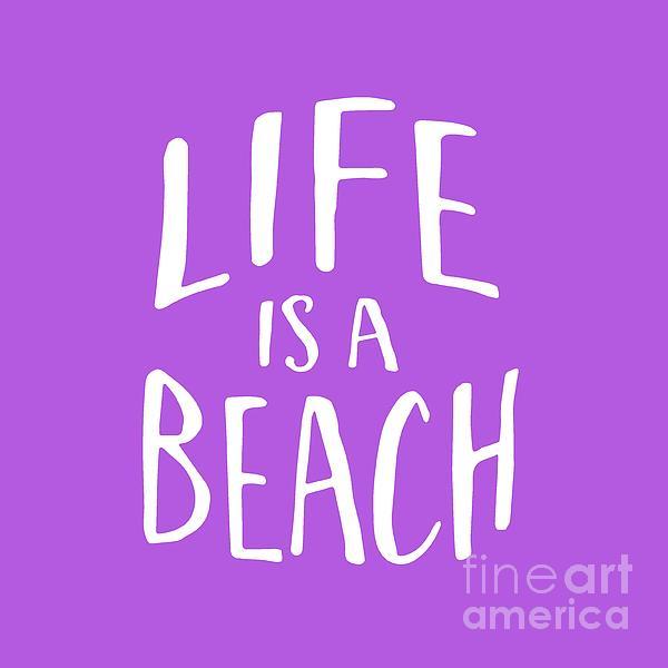 Life Is A Beach White Ink Tee Digital Art