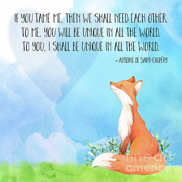 Little Prince Fox Quote, Text Art Greeting Card