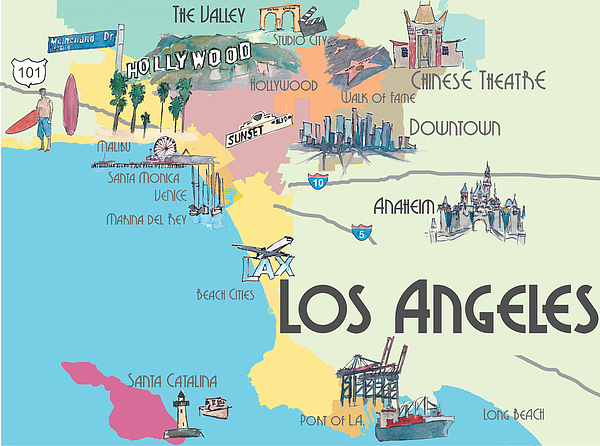 Epic image throughout printable map of los angeles