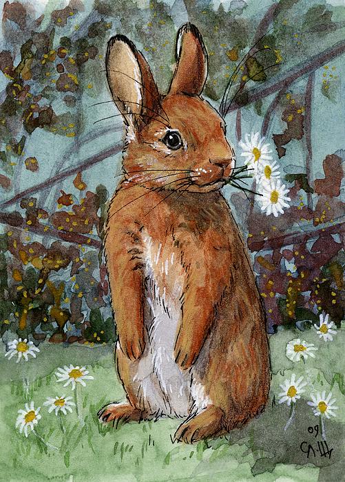 Svetlana Ledneva-Schukina - Lovely Rabbits - Daisies for you
