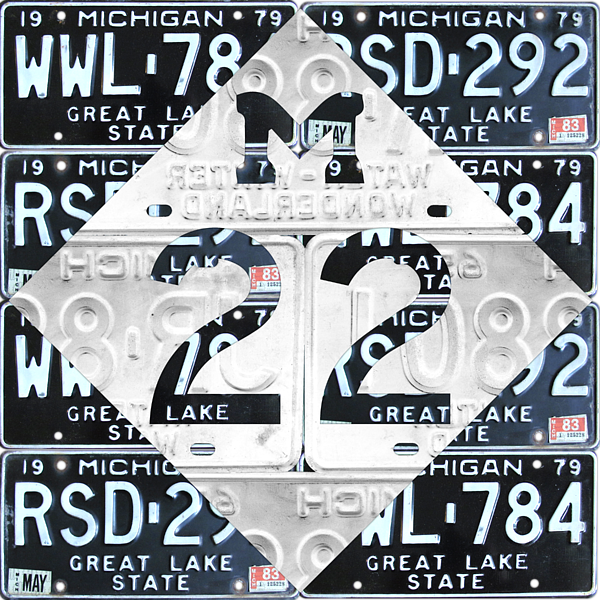 M22 Michigan Highway Symbol Recycled Vintage Great Lakes State ...
