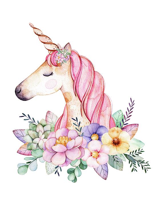 Magical Watercolor Unicorn Lisa Spence on Tumblr Transparent Flowers Rose