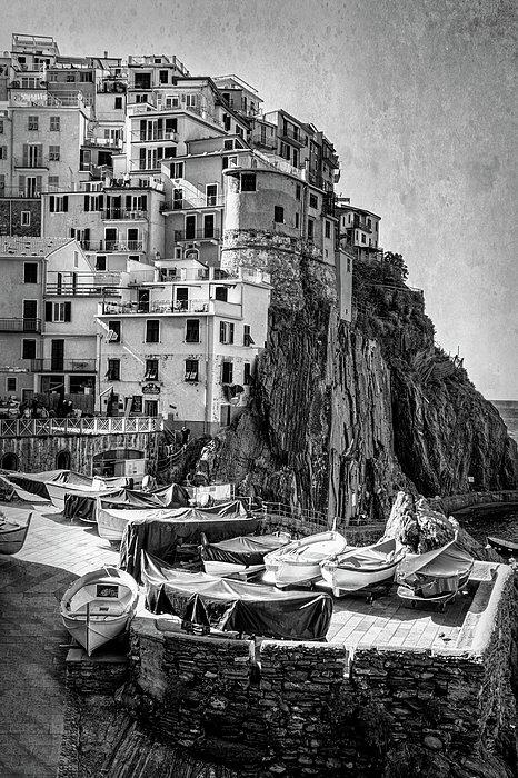 Joan Carroll - Manarola Boats Cinque Terre Italy BW