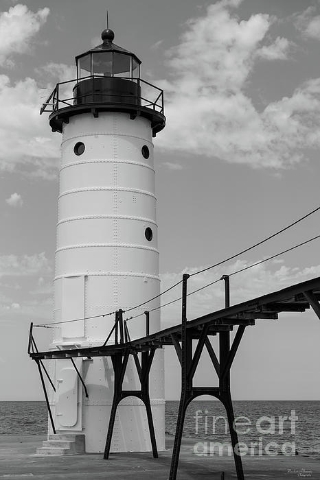 Jennifer White - Manistee Lighthouse Grayscale