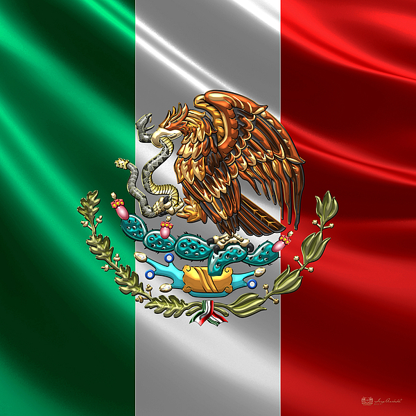 Mexico - Coat Of Arms Over Flag Tote Bag for Sale by Serge ...