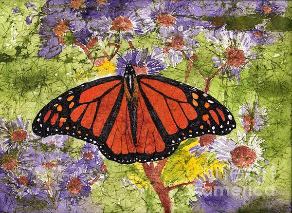 Conni Schaftenaar - Monarch Butterfly on Purple Flowers Watercolor Batik
