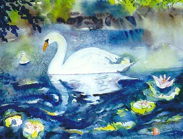 Norma Boeckler - Mother Swan and Baby