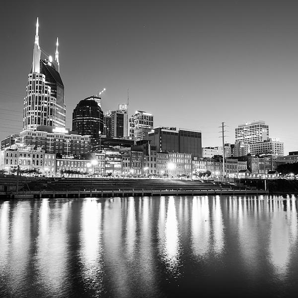 Gregory Ballos - Nashville Skyline at Dusk in Black and White - Square