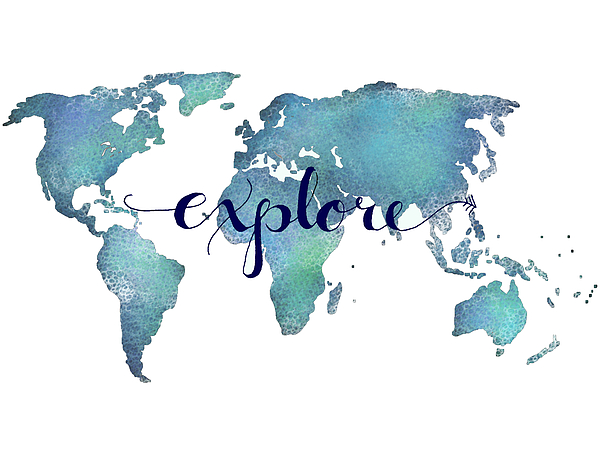 Navy And Teal Explore World Map Shower Curtain For Sale By