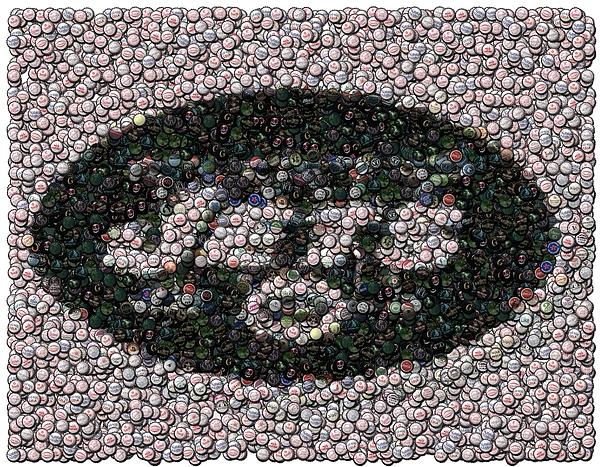 b0d495bf253a New York Jets Bottle Cap Mosaic by Paul Van Scott