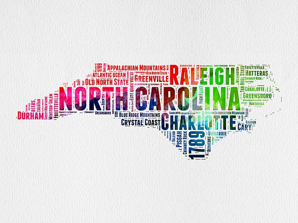 Naxart Studio - North Carolina Watercolor Word Cloud Map